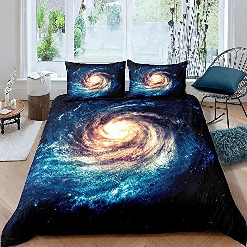 Meimall Juego De Funda De Edredón Azul Cielo Estrellado Galaxia Nebulosa. 220X220 Cm Almohada De Microfibra para Todas Las Estaciones, Cama De Matrimonio, Edredón, con 2 Funda De Almohada