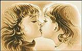PJX Kits de punto de cruz estampados, kit de manualidades de bordado popular set de punto de cruz primer beso inocente beso puro beso amoroso beso-14CT lienzo sin imprimir 40 cm50 cm