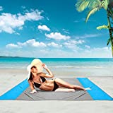 Beach Blanket Sandproof Water Resistant, Portable Folding Pocket Picnic Mat, Compact Travel Beach Mat, for Park,Beach and Picnic Camping-Quick Drying Heat Resistant