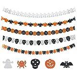 KATOOM 15M Bannière de Guirlande Halloween,Banderole Halloween Décoration de Guirlande de Papier de Papier d'halloween Ghost Citrouille Chauve-Souris crâne tête de fantôme, d'araignée