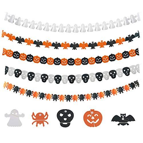 KATOOM 5stk Halloween Party Deko Halloweendeko Halloween Spinne Girlande Banner Kürbis Wimpelkette Halloweendekoration Geist Bat Wimpel Skull Grusel deko für Karneval Allerheiligen