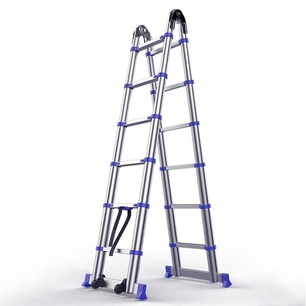 Escalera plegable de extensión telescópica extensible telescópica Escalera, un chasis de escalera de aluminio telescópica extensible multipropósito, Fuerte seguridad portátil for el hogar Loft Oficina: Amazon.es: Bricolaje y herramientas