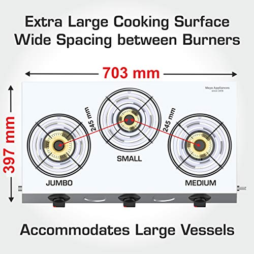 Vidiem GS S3 195 A Vector Plus 3 Burner Stainless Steel Gas Stove, Silver, Manual