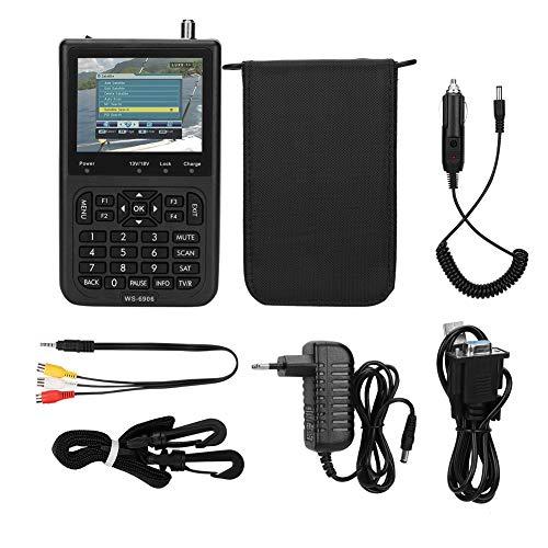Exliy WS-6906 Buscador de satélite Medidor de señal, Receptor DVB-S Detector de señal de satélite Detector de señal con Pantalla LCD de 3.5 Pulgadas