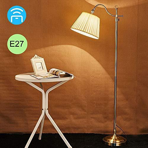 FREETT Lámpara de Pie Metal LED, Luz de Pie 12W Dorada con Control Remoto y Pantalla Tela, Lámpara de Lectura E27 Retro para Salón Dormitorio Estudio, Altura Ajustable, Alto 174cm