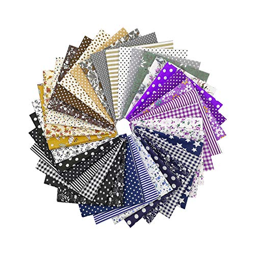 Chris.W 35Pcs Quilting Fabric Squares Sheets, 10'x10' Cotton Craft Fabric Bundle Patchwork Pre-Cut Quilt Squares for DIY Sewing Scrapbooking Quilting Dot Pattern(Dark Color Set)