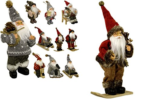 JEMIDI Weihnachtsmann 18cm Deko Nikolaus zum aufhängen Figur Santa Weihnachts Deko Holz (Auf Snowboard)