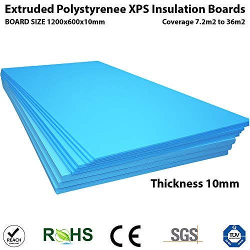 XPS Foam Insulation Boards 1200 x 600 x 10mm - QTY-10 - Coverage 7.2m2 - Electric and Water Underfloor Heating Tile Laminate Underlay Thermal Extruded Polystyrene Insulation Sheets