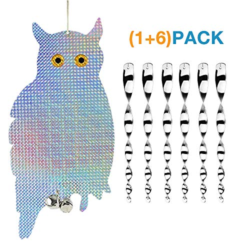 Aoteman Owl Bird Repellent, Bird Blinder Repellent Wind Twisting Scare Rods(7 Pack)