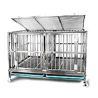 ブレーキ付ヘビーデューティメタル犬小屋ペットケージステンレススチール製の大型クレートガーデントレーニングダブルドアの安全ロックグリッドペット子犬フェンス360°ユニバーサルホイール (Size : 125*75*75cm)