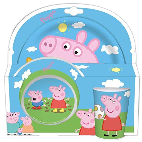 Peppa Pig 3tlg. Melaminset in offener Geschenkverpackung