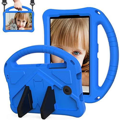 QYiD Funda para Galaxy Tab 4/3/3 Lite 7 Inch Tablet, Cubierta rígida con Soporte asa y Correa para el Hombro, Apta para niños, para SM-T230 T210 T110 P3200, Azul