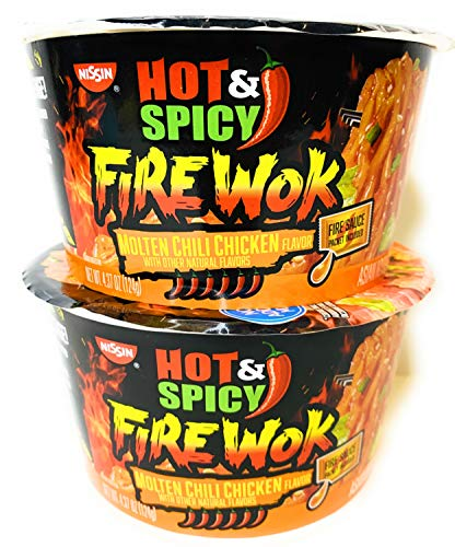 Nissin Fire Wok Stir Fry Molten Chili Chicken Asian Noodles 4.37 oz ( Pack of 2 )