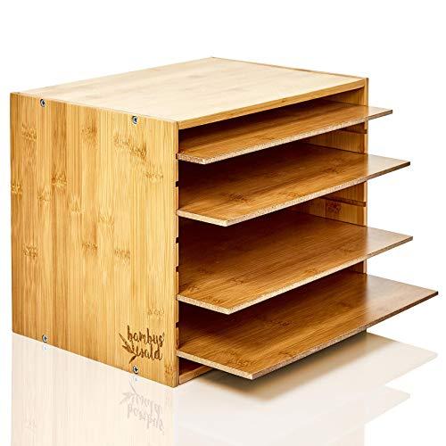 bambuswald Bandeja de Documentos 100% Hecho de bambú | Organizador de Escritorio - Bandeja de Cartas con 5 Compartimentos (Ajustables) | Archivador para la Oficina: 24 x 32 x 23 cm