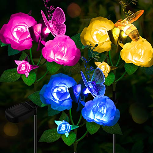 Solar Garden Lights Outdoor, 3 Pack Path Figurine Stake...