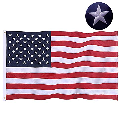 Jetlifee American Flag 4x6 Ft Embroidered Stars, Sewn Stripes, Brass Grommets US Flag Decorations, Outdoors Indoors USA Flags Polyester 4 x 6 Foot