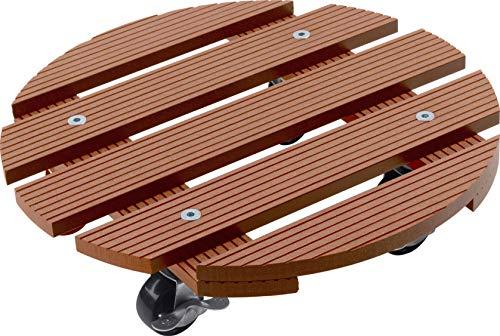 Metafranc WPC-Pflanzenroller Ø 300 mm-60 kg Tragkraft-Braun-PP-Räder-Feststeller-Witterungsbeständig/Outdoorroller/Untersetzer mit Rollen/Transporthilfe für Pflanzen / 825120