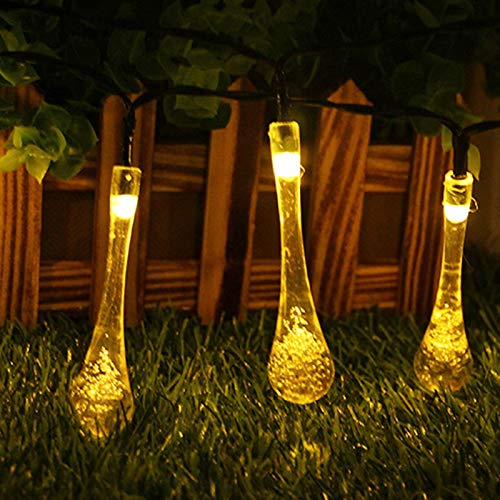 ABTSICA Ultrabright String Light, Outdoor Waterproof LED Solar Fairy String Lights 8 Modes Garden Decoration Hanging Lights For Patio Party Christmas Tree,warm color,6.5m30 lights