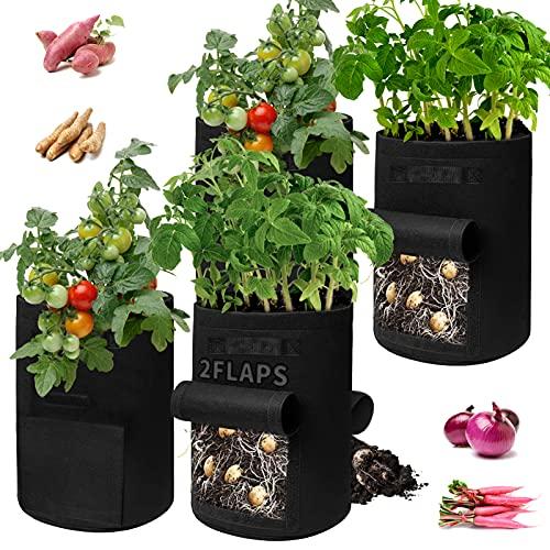 Saco para Plantas 4 Piezas 60L Saco Cultivo Saco Patatas Bolsa de Cultivo con Asas de Tela no Tejido Saco para Plantas Maceta de Cultivo para jardinería Saco para Plantas para Flores y Verduras