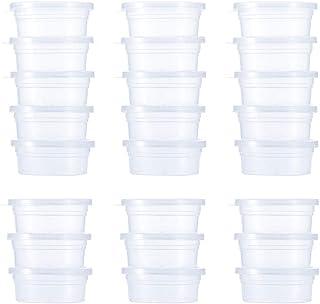 Slime förvaringsbehållare 24-pack, återanvändbar läckagesäker klar plast skum boll förvaring koppar förvaring burkar behål...