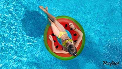 Perfect Pools Inflatable Watermelon Rubber Ring | Giant Swim Ring | Swimming Pool Toy PVC Float 110cm
