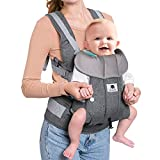 Meinkind Baby Carrier, 2-in-1 Convertible Carrier Ergonomic, Soft Breathable Mesh Comfortable Baby Carrier for 8~33lbs Infant, Front Carrier with Head Support, Padded Shoulder Strap, Dark Grey