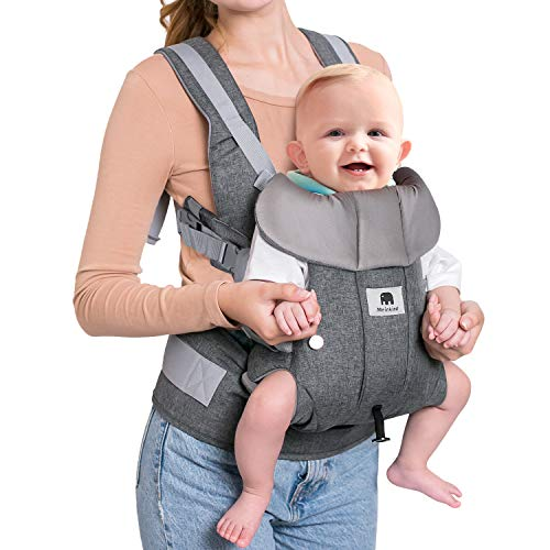 Meinkind Baby Carrier, Infant to Toddler Baby Carrier Newborn Baby Carrier, 4-in-1 Baby Carrier 360 All Position with Breathable Mesh Ergonomic Extra-Padded Shoulder Straps Zipper Storage Pockets