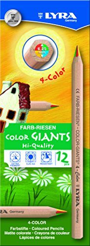 LYRA 3930500 Farb Riesen Buntstifte, bunt, 12 stuck, 4-Color Stifte