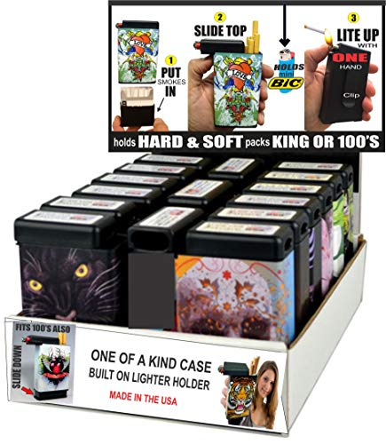 cigarette cases with bic lighters Cigarette Case Built On Lighter Holder Kings & 100's-15 Count Display Wholesale