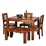 Corazzin Wood Lakewood Sheesham Wooden Dining Table 4 Seater | Dining Table Set with 3 Chairs & 1 Bench | Home Dining Room Furniture | Honey Finish Finish
