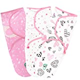 Baby Swaddle Blanket Wrap for Newborn & Infant, 0-3 Months 100% Breathable Cotton Swaddlers Sleep Sack with Adjustable Wings, 3 Pack Swaddling Blankets for Girls (Blush)