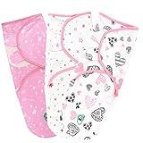 Pucksack Baby Wickel-Decke für 0-3 Monate 3er Pack mit verstellbaren Flügeln - 100% Premium Baumwolle Schlafsack für Neugeborene, Säuglinge und Kleinkinder - Universal Decke für Mädchen und Jungen