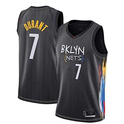 Ordioy Camisetas De Baloncesto para Hombre, City Edition Brooklyn Nets # 7 Camiseta Kevin Durant NBA Swingman, Chaleco De Entrenamiento Sin Mangas De Tela Transpirable Bordada,Negro,S