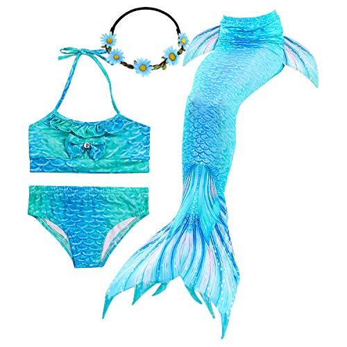 GALLDEALS Mermaid for Swimming Girls Swimsuit Princess Bikini Set Bathing Suit Swimmable Costume (No Monofin) (9-10 Years, Zipper Opens Blue)