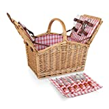 Picnic Time Piccadilly Willow Picnic Basket for Two People, with Plates, Wine Glasses, Cutlery, and Corkscrew -...