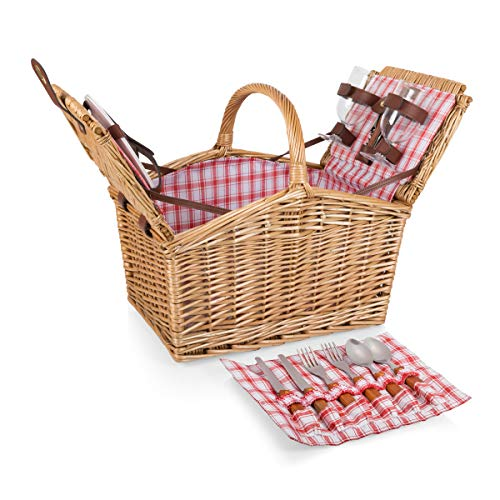 Picnic Time Piccadilly Willow Picnic Basket for Two People, with...