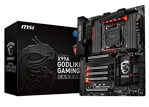 MSI X99A GODLIKE Gaming Carbon - Placa Base Entusiasta (Chipset Intel X99, Mystic Light, DDR4 Boost, Steel Armor, Killer Double Shot-X3 Pro, Audio Boost 3 Pro, Game Boost, Military Class IV)