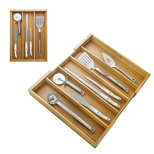 QUUY Uitbreidbare bestekbak van bamboe – lade-inzetstukken | multifunctionele schuifladen organizer | bestek gebruiksvoorwerpen dienblad | lade bestek opbergdoos | voor keuken kantoor en badkamer