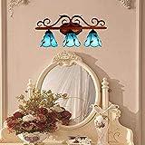 TTXP Lámpara de Pared, Espejo de baño de vidrio azul europeo Proyector Pasillo Bar Restaurante Aplique de pared 63 * 27 cm