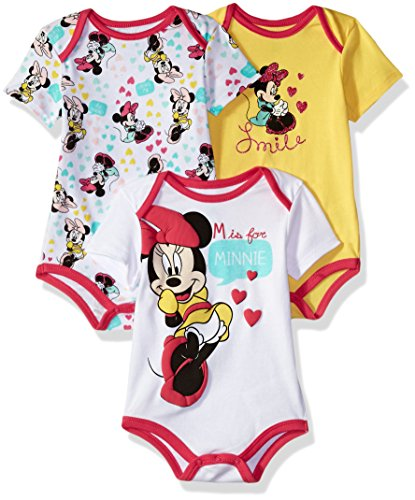 Disney Baby Girls' Minnie Mouse 3 Pack Bodysuits, Multi/Pink Yarrow, 12M