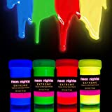 Glow in The Dark Paint Extreme by neon nights – Set of 4 Professional Grade Glow Paints – Neon Glowing Phosphorescent Paint - Long-Lasting Self-Luminous Paint Handcrafted in Germany