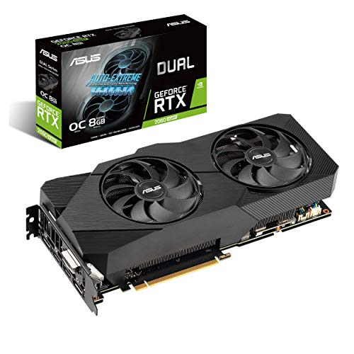 ASUS Dual NVIDIA GeForce RTX 2060 Super EVO V2 OC Edition Gaming Graphics Card (PCIe 3.0, 8GB GDDR6 Memory, HDMI, DisplayPort, DVI-D, Axial-Tech Fan, 0dB Technology, DirectCU II, Auto-Extreme)