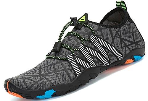 Zapatos de Agua para Buceo Snorkel Surf Piscina Playa Vela Mar Río Aqua Cycling Deportes Acuáticos Calzado de Natación Escarpines para Hombre Mujer,Gris 45