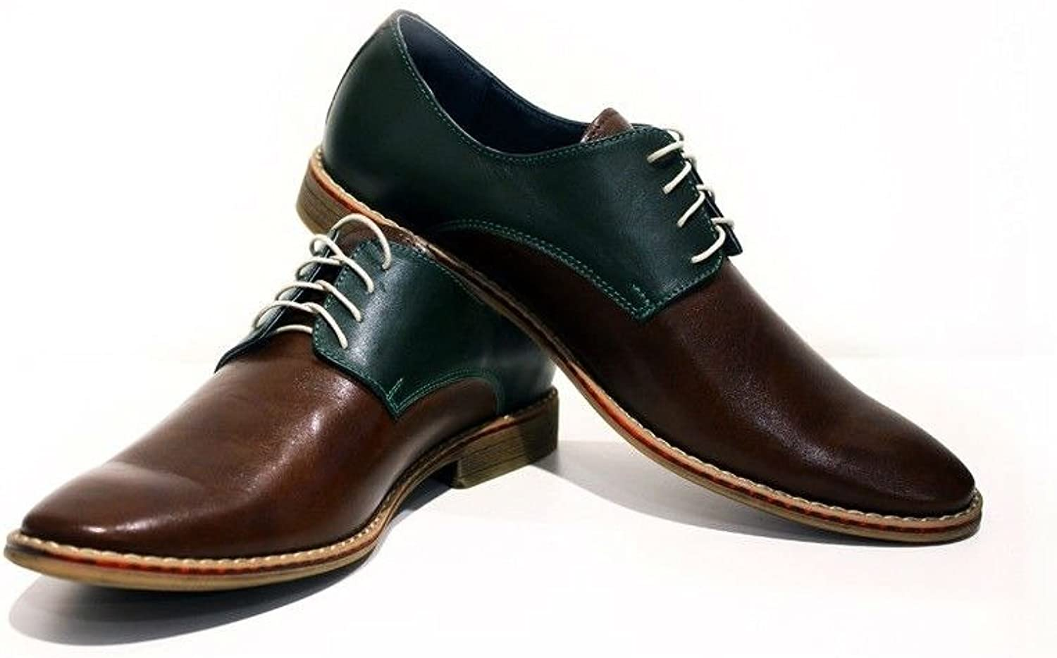 Modello Roma - Handmade Italian Leather Mens color Brown Oxfords Dress shoes - Cowhide Smooth Leather - Lace-Up