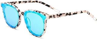 Fashion Female Trend Sunglasses Star Sunglasses UV400 Plate Cat Eye Sunglasses Retro (Color : Blue)