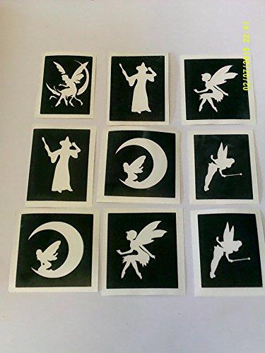 30 x Märchen Themen Schablonen (gemischt) für Glitzer Tattoos / Gesicht malen Feen Tinkerbell Fairy Patin