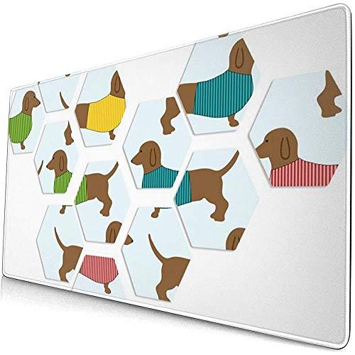 Hond Puzzel Verlengd Gaming Muis Pad,Dikke Grote Computer Toetsenbord Muismat