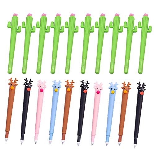 Bolígrafos de tinta de gel de Cactus y Alces de tinta negra, bolígrafos neutros de 0,5 mm Kawaii de tinta de gel para la escuela, regalos para niños, alce y 10 unidades de color al azar
