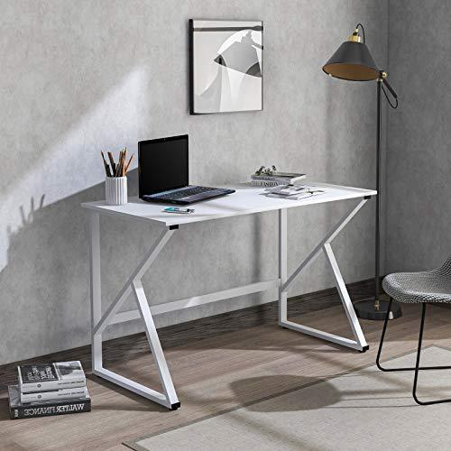 ASSR Mesa de ordenador con patas de mesa en forma de K, mesa de trabajo de estudio de oficina, mesa de estudio de ordenador portátil, mesa de trabajo grande para oficina en casa, color blanco