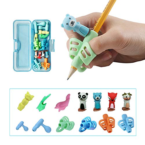 Pencil Grips for Kids Handwriting, Pen Grippers for Boys Girls, Preschool Writing Training Aid Grip, Toddler Beginners Kindergarten Writing Finger Grip, 6 Stage Posture Correction Tools(13 PCs)